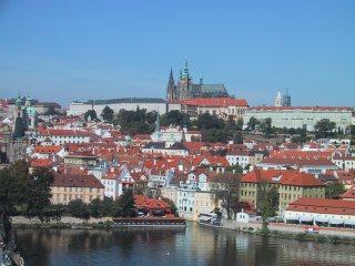 ブルタバ川(モルダウ川)の向こう側に見えるプラハ城